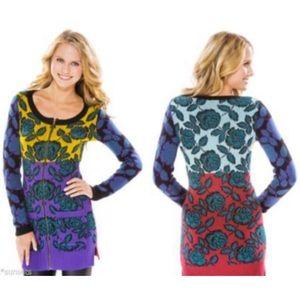 Betsey Johnson Roses Knit Long Cardigan Sweater